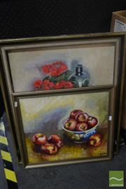 Sale 8525 - Lot 2053 - Artist Unknown (2 works), incl Still Life, acrylic on canvas, framed, various sizes