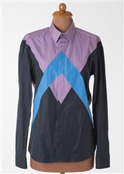 Sale 8550F - Lot 128 - A Kenzo 100% cotton shirt with geometric black, blue and purple design, size 40, neck size 15 3/4.