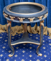 Sale 8677B - Lot 895 - An empire style Jardiniere stand, gilt and ebonised with Egyptian theme to tripod base H x 67cm, Diameter 58cm