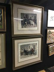 Sale 8707 - Lot 2049 - Pair of hand coloured engravings Waterloo Port & Hearts are Trump 80 x 90cm (frame size; Charles Hewitt Framing)