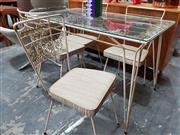 Sale 8782 - Lot 1087 - Vintage Metal Five Piece Outdoor Suite incl. Glass Top Table & Four Chairs