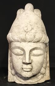Sale 9015G - Lot 72 - An Impressive Large Carved Marble Buddha Head. Size: 41cm H x 25Cm W Aged,General Wear,Head Only, Chipping To Base