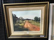Sale 9033 - Lot 2032 - Ron Stannard, Outback,  Road, Central Australia, oil on canvas board, 47 x 55cm (frame), signed