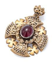 Sale 9083 - Lot 314 - A VINTAGE JERUSALEM STYLE SILVER GILT GARNET PENDANT; Maltese Cross with 4 smaller crosslets centring a 12 x 9mm cabochon garnet, di...