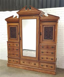 Sale 9102 - Lot 1224 - Large Victorian wardrobe with mirrored and carved panel doors