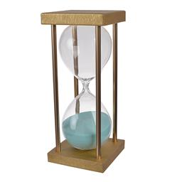 Sale 9140F - Lot 121 - A 30 minute hourglass crafted with a gold stand and blue sand. Dimensions: W7.5 x D7.5 x H18.5 cm