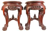 Sale 7974 - Lot 72 - Chinese Rosewood Carved Dragon Pedestals