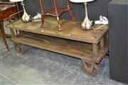 Sale 7981A - Lot 1004 - Timber Industrial Trolley w Metal Wheels