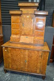 Sale 8093 - Lot 1726 - Continental Fruitwood Multi-Drawer Cabinet with Geometric Inlay (key in office)