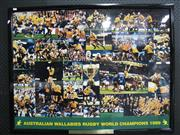 Sale 8125 - Lot 48 - Cup Champions 1999 - a large framed collage of The Wallabies as Cup Champions; t/w QLD Reds 2004 team poster, mounted (2)