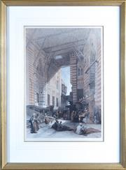 Sale 8800 - Lot 22 - A David Roberts tinted lithograph 'Bazaar of the Silk Merchant, Cairo, bookplate,  Published London, by F.G Moon, 1848, 50 x 36cm