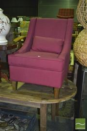 Sale 8341 - Lot 1052 - Pair of Maroon Toba Chairs