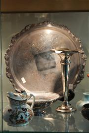 Sale 8379 - Lot 108 - Silver Plated Tray, Dish, Rose Vase with a Continental Teapot