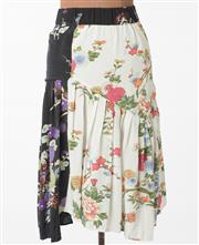 Sale 8550F - Lot 136 - An Isabel Marant silk black and white mid length skirt with floral pattern and pleating, size 34.