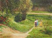 Sale 8565A - Lot 5025 - Dale Marsh (1940 - ) - Two Girls By A River, 2001 40 x 50cm
