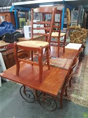 Sale 8601 - Lot 1081 - Seven Piece Timber Dining Setting inc Table on Scrolled Metal Base and Six Chairs