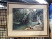Sale 8811 - Lot 2017 - Helen Cameron - Bush Scene and Two Figures, pastel on paper, 50 x 62cm (frame), signed lower left