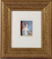 Sale 9010 - Lot 36 - Artist Unknown Portrait of A Woman, Hand Painted Miniature on Ivory, Possibly English Circa 1830s (9cm x 10cm, Frame Size 37cm x 42c...