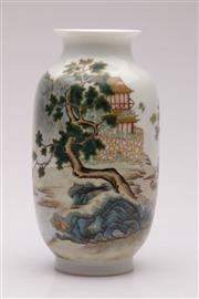 Sale 9044 - Lot 70 - Decorative White Baluster Shaped Chinese Vase Featuring Elder H: 22cm