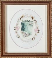 Sale 9080J - Lot 177 - A hand stitched elaborate ribbon embroidery titled The Wedding within a quality deep boxed gilt frame. Frame Ht: 48cm x 43cm