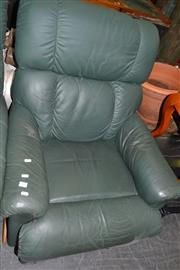 Sale 8013 - Lot 1167 - Green Leather Reclining Armchair