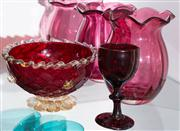 Sale 8470H - Lot 168 - Two Victorian cranberry glass frilled vases of diminutive size with a similar example, together with a ruby glass goblet and a Muran...