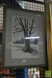 Sale 8537 - Lot 2125 - Bill Ely, Light Snow, watercolour and gouache, frame size: 45 x 35cm, signed lower right