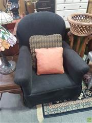 Sale 8648C - Lot 1092 - Black Fabric Upholstered Bedroom Chair with Ottoman