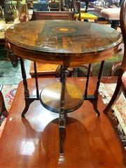 Sale 8693 - Lot 1059 - Victorian Rosewood Circular Occasional Table, with medallion inlay, on turned supports & conforming smaller tier