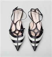 Sale 8740F - Lot 249 - A pair of Giorgio Armani white and black leather pointed toe sandals with T-bar strap, size 37