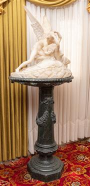 Sale 8804A - Lot 42 - An Italian carved alabaster figure of Cupid and Psyche after Canova on a green marble pedestal of tapering form with festoons, total...