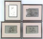 Sale 8952 - Lot 59 - Sir Russell Drysdale Series Of Ltd Edition Etchings In Sterling Silver (4)