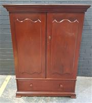 Sale 8993 - Lot 1089 - Late 19th Century Cedar Gentlemans Wardrobe, with two large shield shaped panel doors, enclosing hanging with later and removable s...