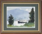 Sale 9053 - Lot 2050A - Allan Waite (1924 - 2010) - Working Boat at Bayview, Pittwater 26 x 35 cm (frame: 44 x 54.5 x 3 cm)