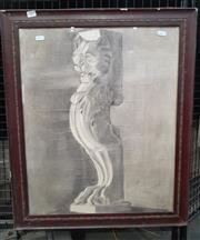 Sale 9069 - Lot 2042 - Geoffrey Larosse Lions Den (Architectural drawing) charcoal on paper, frame: 69 x 57 cm , titled verso -