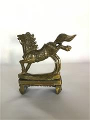 Sale 9080G - Lot 69 - Carved Stone Horse Statue on Stand .General Wear. Size 22cm H