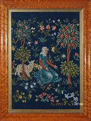 Sale 9080J - Lot 178 - An antique birdseye maple frame C: 1880, with a later hand worked tapestry. Frame Ht: 62cm x 48cm