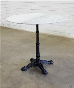 Sale 9151 - Lot 1312 - Round marble top table on cast iron base (h75 x d80cm)