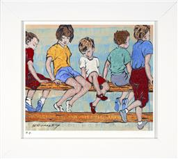 Sale 9174JM - Lot 5005 - DAVID BROMLEY (1960 - ) Kids on the Fence giclee, ed. P/P 21 x 25 cm (frame: 31 x 35 x 3 cm) embossed with studio seal lower right