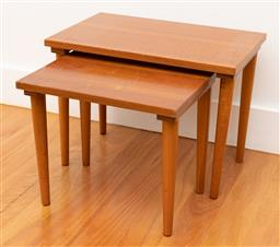 Sale 9239H - Lot 14 - A nest of two Mid-Century timber tables, taller H 34 x W 45 x D 30cm.