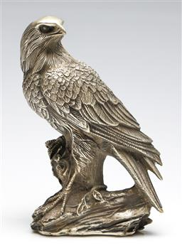 Sale 9255S - Lot 69 - A Chinese white metal figure of a Hawk Height 23cm