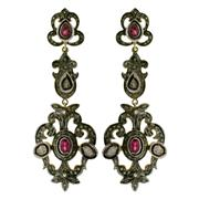 Sale 8060B - Lot 369 - A PAIR OF STERLING SILVER GILT GEM SET EARRINGS; articulating drops set with pink tourmaline, single, rose and table cut diamonds. L...