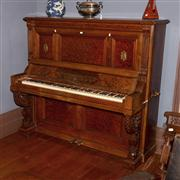 Sale 8127A - Lot 98 - A Late C19th Straight Grained and Burr Walnut Upright Piano,