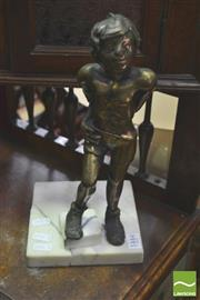Sale 8338 - Lot 1444 - Bronze of Young Boy on Marble, Signature to base (marble cracked)