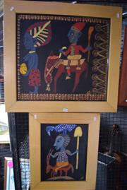 Sale 8346 - Lot 2076 - Artist Unknown (2 works) - African Tribal Paintings, acrylic on canvas, framed, various sizes