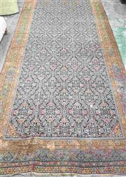 Sale 8917 - Lot 1056 - Large Antique Persian Wool Carpet, with herati pattern on dark blue ground (damages incl. larger patch & two holes) (710 x 260cm)