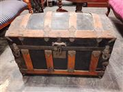 Sale 8925 - Lot 1026 - A dome top sea faring chest with leather strap handles