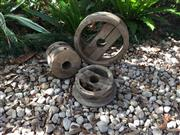 Sale 9015G - Lot 75 - Set of 3 Antique Timber Pulley Wheel, (Missing timber/ Some deterioration on Timber. One Wheel Timber Joint Is Loose) Size 37cm D ,2...