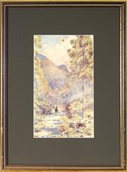 Sale 9036 - Lot 2039 - Archibald Fenton Spencer (1860 - 1933) - Travellers, Megalong Valley, Katoomba, 1900 32 x 19 cm (frame: 55 x 42 x 2 cm)