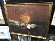 Sale 9036 - Lot 2078 - Ron Stannard, Sun rise over the red earth, oil on board, 68 x 84cm (frame), signed